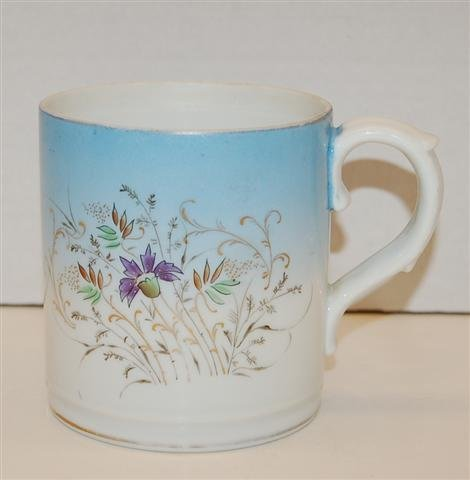1: Floral Decorated Porcelain Farmer's Cup, Double Head