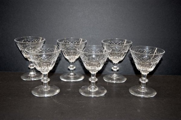 2: Six (6) Cut Crystal Sherry Glasses - possibly Waterf