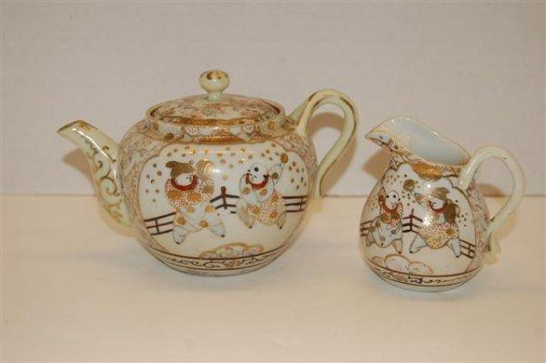 7: Hand Decorated Japanese Individual Tea Pot & Creamer