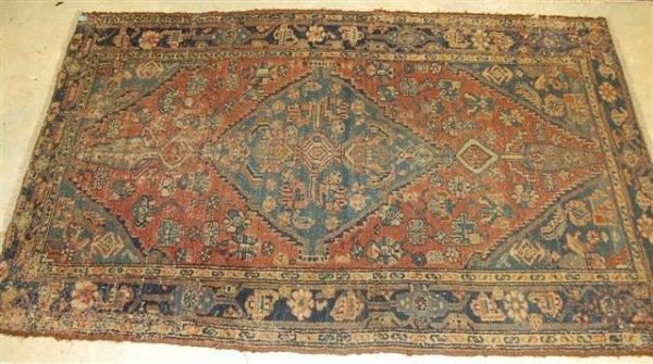 9: Hand Woven Hamadan Oriental Throw Rug - approximatel