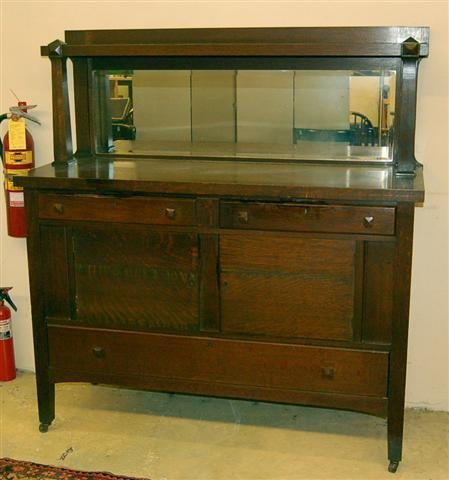 10: Oak Early 20th Century Sideboard with Mirror Back,
