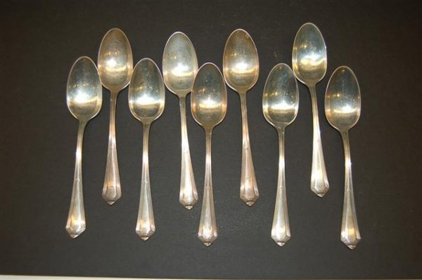 """18: Nine Gorham Sterling Tea Spoons """" Plymouth """" patter"""