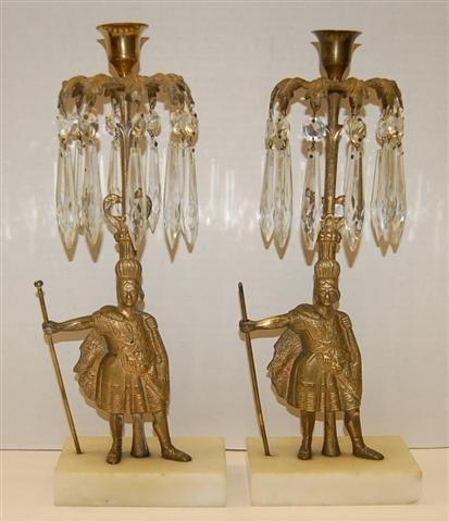 21: Pair of Victorian Figural Candelabra w/ Crystal Pri