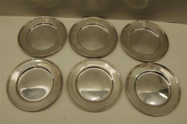 23: Six Sterling Dessert Plates - #1300 - monogrammed