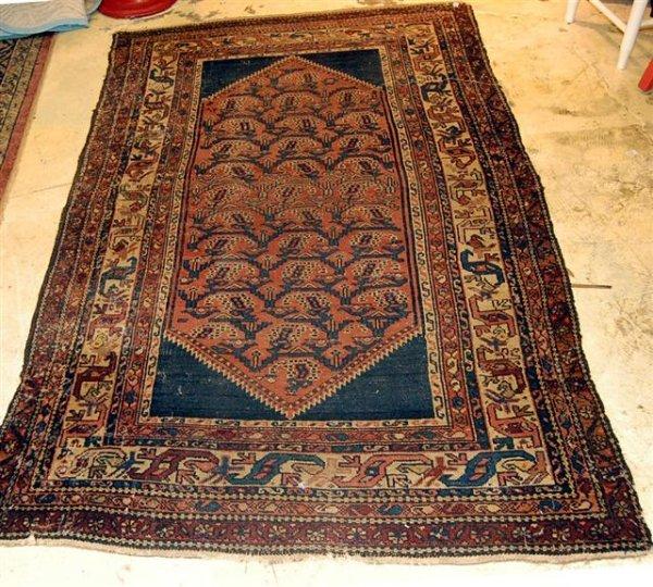 24: Hand Woven Hamadan Oriental Throw Rug - approximate