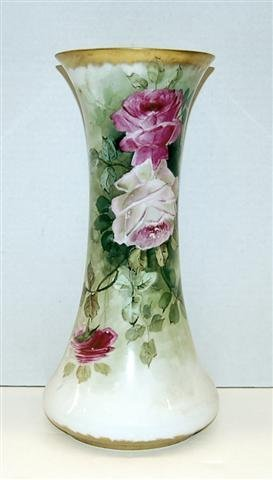 31: Hand Painted Limoges Vases - decorated w/ Roses - 1