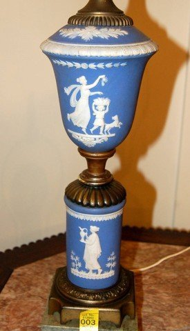 3: Wedgewood Jasperware Lamp w/ Applied Classical Decor