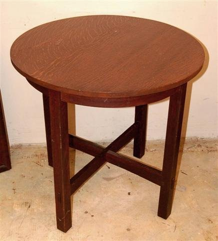 5: Round LJG Stickley Stand w/ cross stretcher base - s