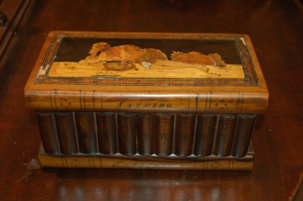 7: Marquetry Inlaid Italian Book Motif Jewelry Box - fe