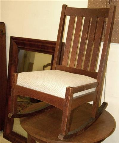 "9: LJG Stickley Slat Back Rocking Chair - 35"" T x 18"" W"