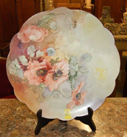 11: Hand Painted Limoges Charger - Roses - w/ scalloped