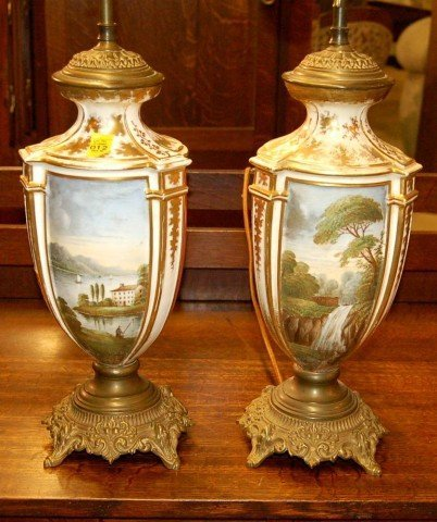 12: Pair of Old Paris Style Lamps w/ Landscape Scene &