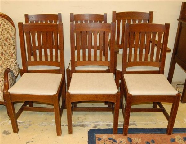 14: Set of Six LGJ Stickley Slat Back Dining Chairs w/
