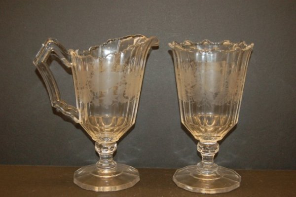 16: 19th Century Pattern Glas Cream & Sugar w/ etched l