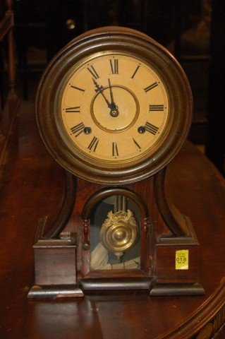 "18: 19th Century Rosewood Cased Mantle Clock - 16"" T x"