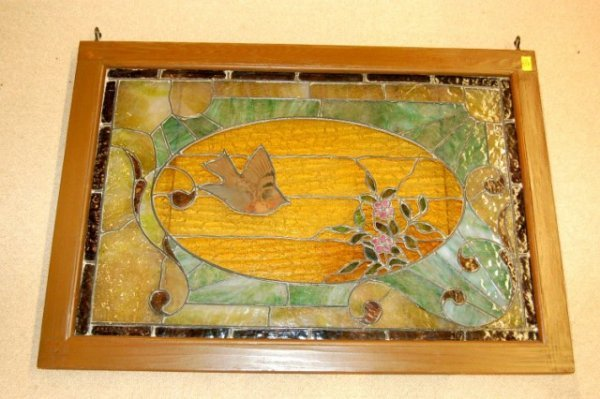 19: Framed Stained & Leaded Glass Window - Birds & Flow