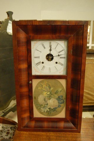 23: 19th Century American Mahogany Ogee Mantle Clock w/