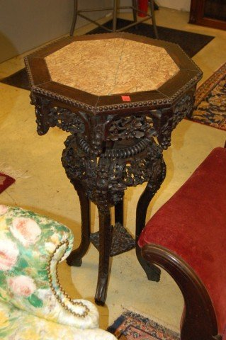9: Chinese Teak Fern Stand w/ Octagon shaped Marble