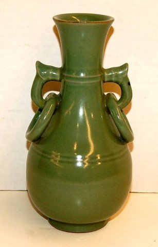 12: Chinese Celedon Vase with Ring Handles