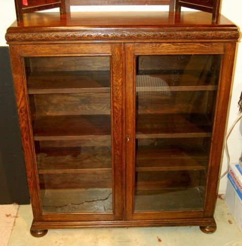 15: English Oak Cabinet with Two (2) glass doors