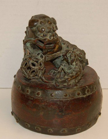 21: Japanese Bronze Dragon with foot on Ball & Baby
