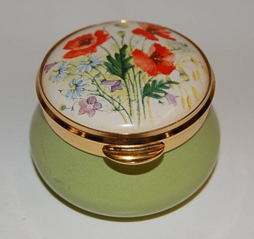 23: English Enamel Box  with Floral Decorated Top