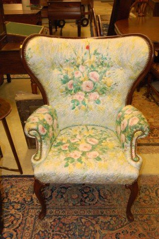24: Pr. of Mahogany Framed Queen Anne style Wing Chairs