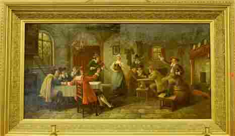 35: Bruno B'Loitter, Large Oil On Canvas -Tavern Scene