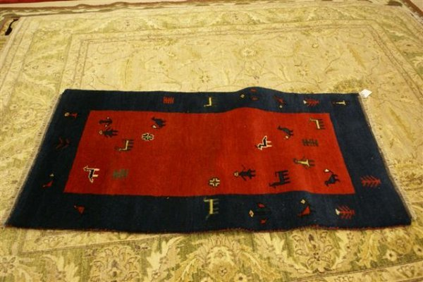 """12: Hand Knotted Indo Gabbeh - approximately 3' x 5' 6"""""""