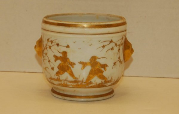 2: Hand Painted French Cache Pot with Mask Handles