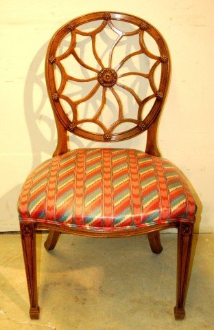 4: Four Medallion Back Dining Chairs with spade feet