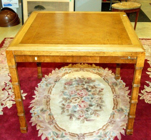 5: Heritage Game Table with Tooled Leather Top
