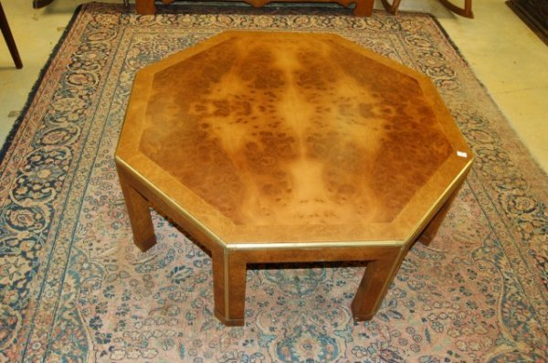 10: Baker Circassion Walnut Octagon Shaped Coffee Table