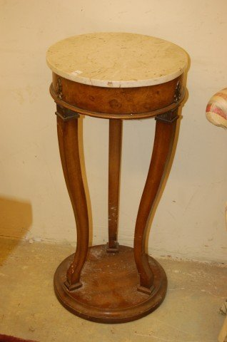 14: Pair of Walnut French Style Marble Top Pedestals