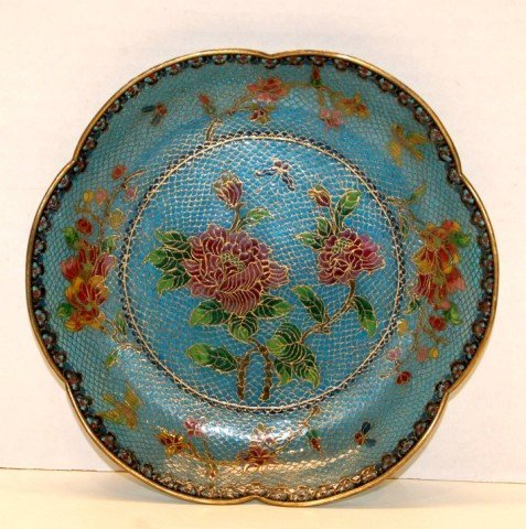 17: Chinese Plique a jour Plate with scalloped edge - 8