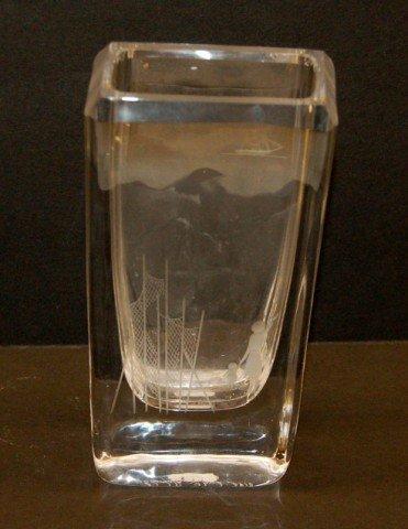22: Etched Crystal Vase - Mother & Child at Bridge