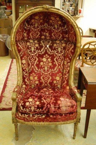24: Louis XV Style Butler's Chair w/ cut velvet