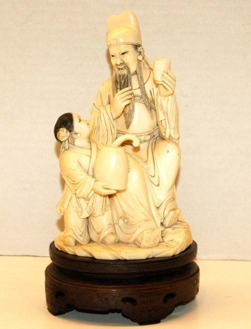 41: Carved Chinese Ivory Figure of Man & Boy