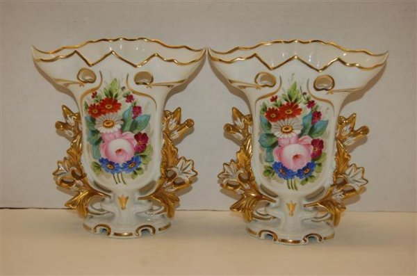 1: Pair of Vista Allegre Old Paris style vases