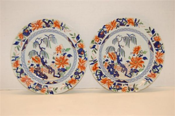 17: Pair of 19th Century English Ironstone Plates