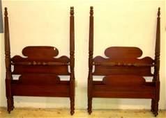 125 Pr Mahogany Sheraton Style Twin Size Poster Beds
