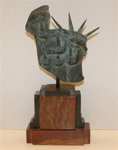 1: Bronze Sculpture - Marble Plynth - Statue of Liberty