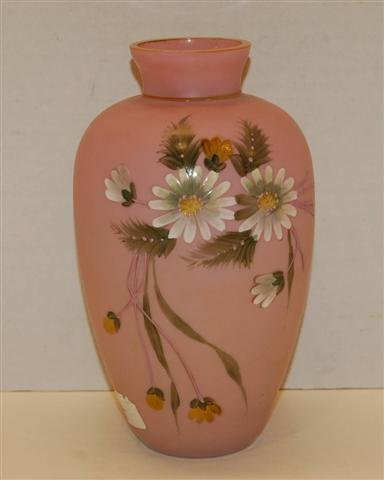 4: Pink Satin Glass Vase w/ Floral Enameled Decoration