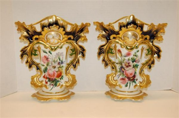 5: Pair of Old Paris Leaf Motif Vases - Hand Painted
