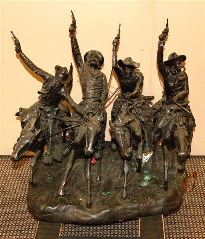 15: Large Bronze Figure - Four Cowboys on Horseback