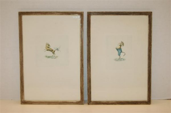 17: Pair of Hand Colored Engravings - Mice - signed