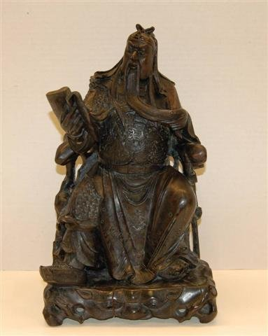 22: Carved Chinese Wooden Statue - Emporer reading book