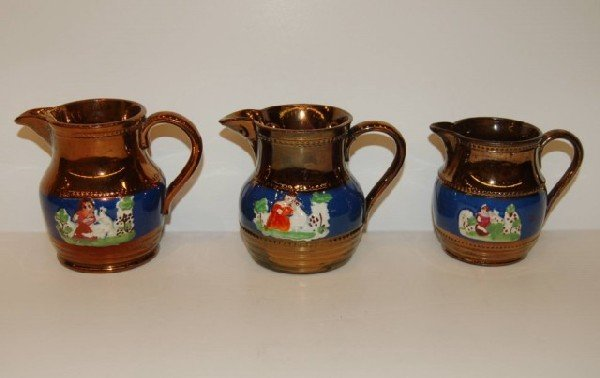 2: Three English Copper Luster Creamers
