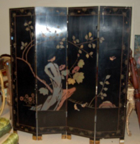 5: Four Panel Oriental Lacquered Screen