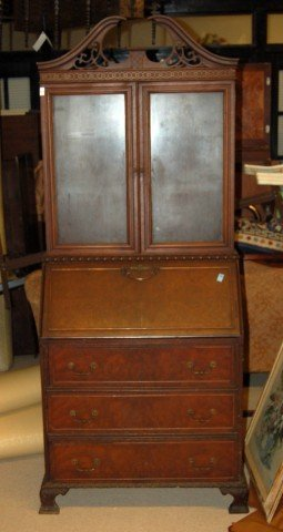 10: Mahogany Slope Top Secretary Bookcase